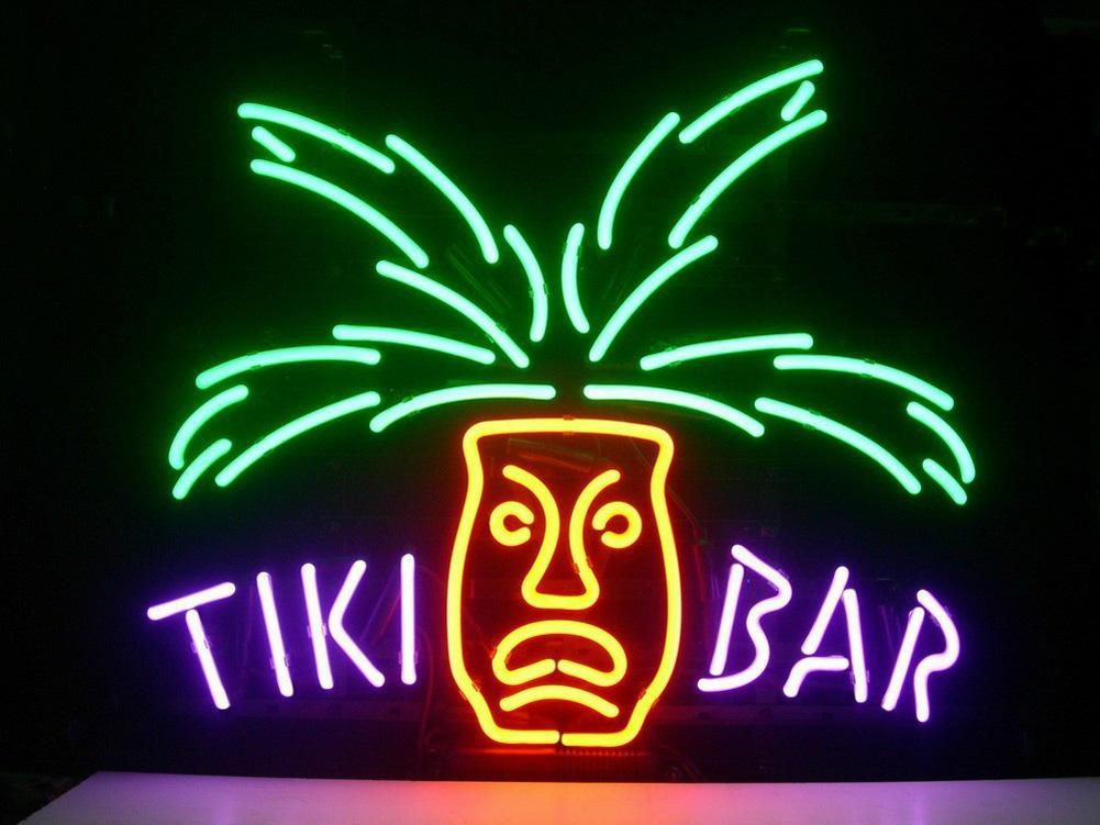 """17""""x14""""TIKI BAR PARADISE PALM Handcrafted Design Decorate Real Glass Tube Neon Light Sign Beer Bar Pub Party Visual Artwork Gift"""