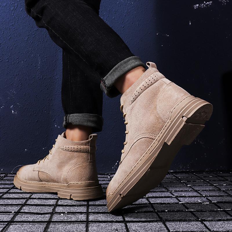 Boots Footwear Sale Black Male Casual Sneaker Men Altas Leather Top Sport Fashion Zapatillas Hightop Hombre Leisure Loafers A