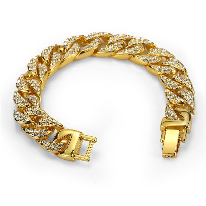 Braccialetto alla moda Mens in acciaio inox in acciaio inox oro strass fitta catena hip hop stile roccia regalo di lusso gioielli per le donne