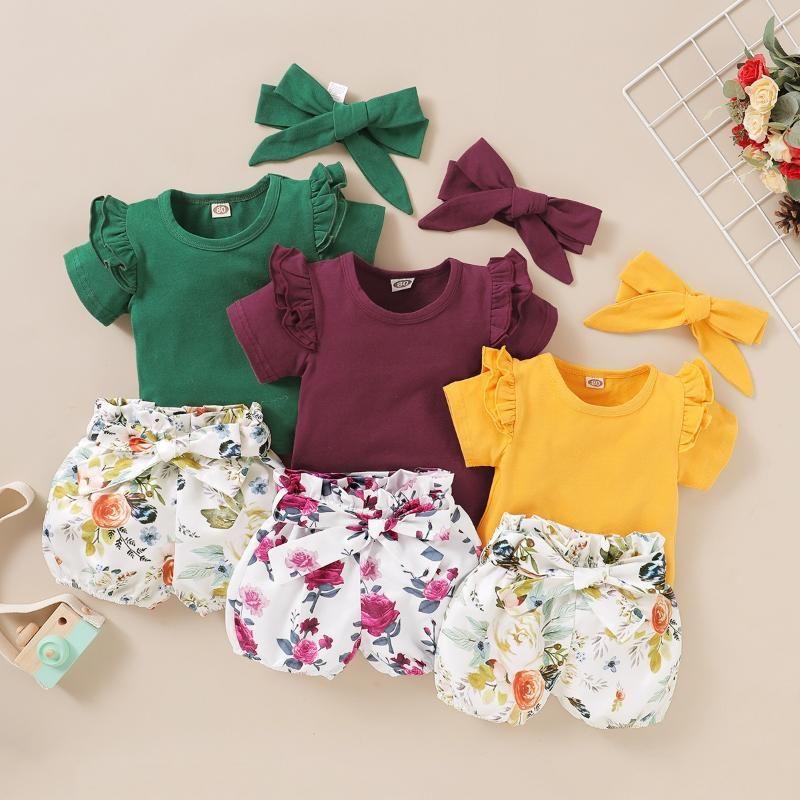 3 pcs bebê menina conjunto recém-nascido camisas de bebê floral shorts conjunto de menina de verão