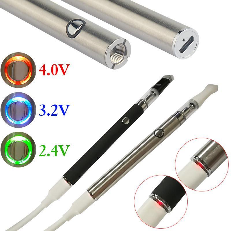 1 adet Sıcak Ön Önceden 510 Konu Pil Vape Kalem Mod + Seramik Kartuş USB Şarj Elektronik Sigara Değişken Gerilim Buharlaştırıcı Vapes Kiti