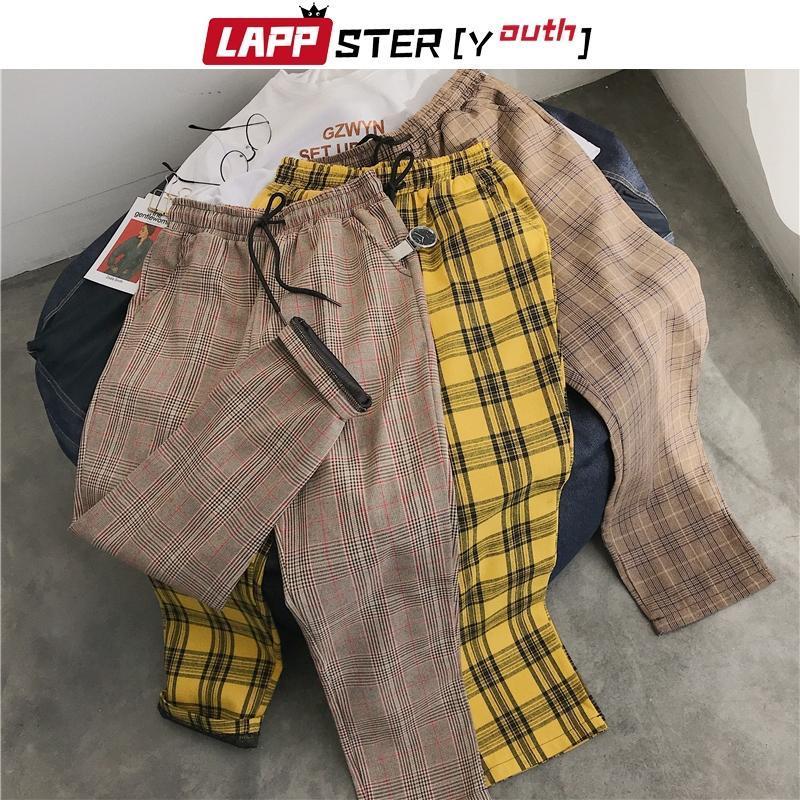 Leppster-jeunesse Streetwear Pantalon à carreaux jaune Hommes Joggers 2021 Mens Hard Harem Panton