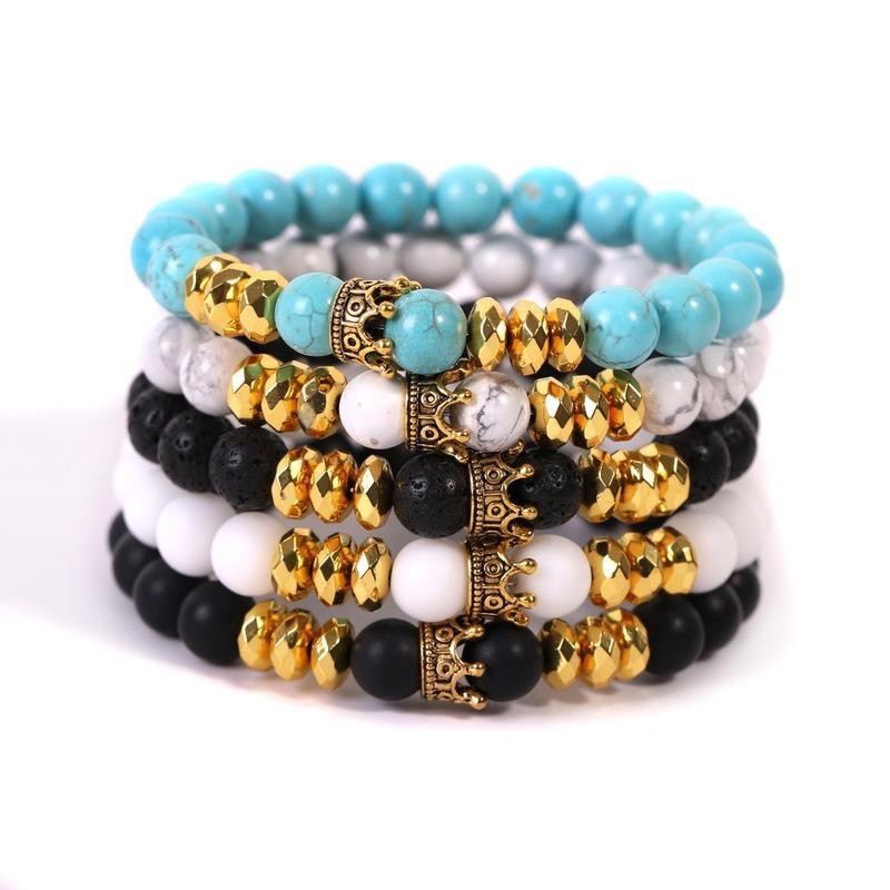Золотая корона браслет натуральный камень Лава рок бирюзовая бирюзовые нити браслеты браслеты женские мужчины мода ювелирные изделия будут и песчаные белые синие черные