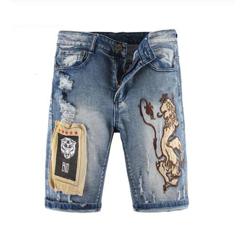 2021 Top Quality Masculino Masculino Moda Casual Joelho Comprimento Lion Bordado Patches Shorts Plus Size Patchwork Buracos Blue Rasgado Jeans Jeans PSGs