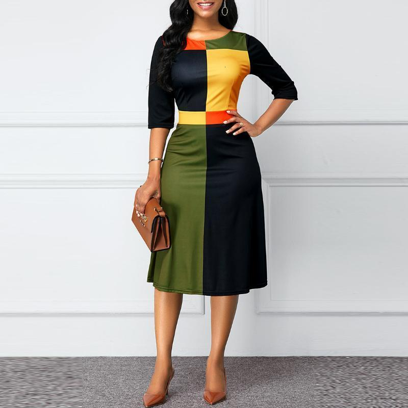 Womens Casual Dresses Geometric Pattern Dress Large Size Round Neck Three-Quarter Sleeves With Stitching Fashion Simple