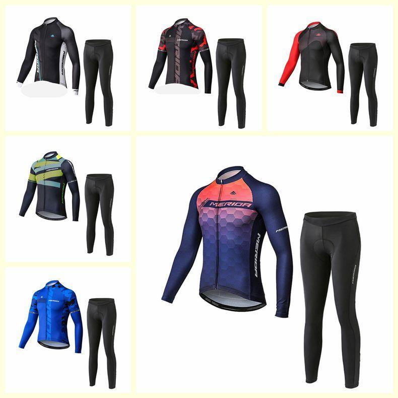 Merida Team Cycling Mangas largas Jersey Pantalones de babero Conjuntos 100% Poliéster Mens Ropa de ciclo al aire libre Ropa de carreras Uniforme de bicicleta S210303106