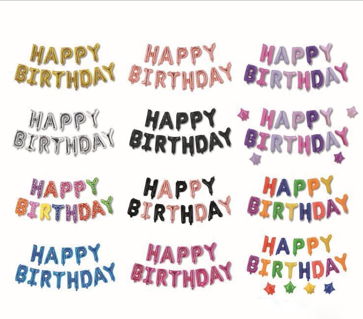 새로운 13pcs 검은 색 빨간색 여러 가지 빛깔의 편지 생일 축하 풍선 편지 풍선 생일 풍선 세트 장식 고품질 도매