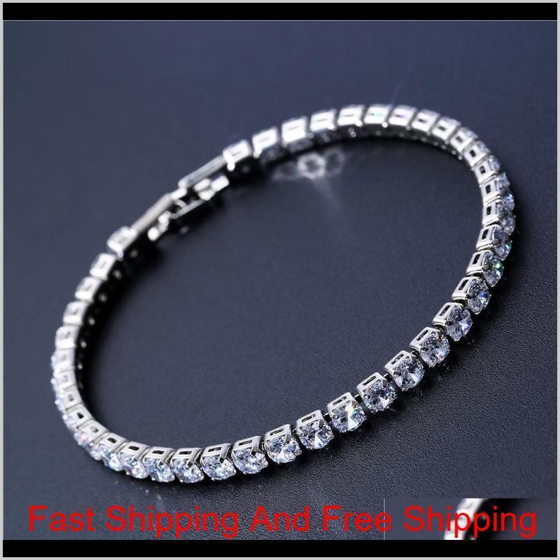 Luxury 4mm Cubic Zirconia Pulseras de tenis Iced Out Cadena Crystal Body Bracelet para Mujeres Hombres Pulsera de plata de oro Joyería L92OS 8PW6R