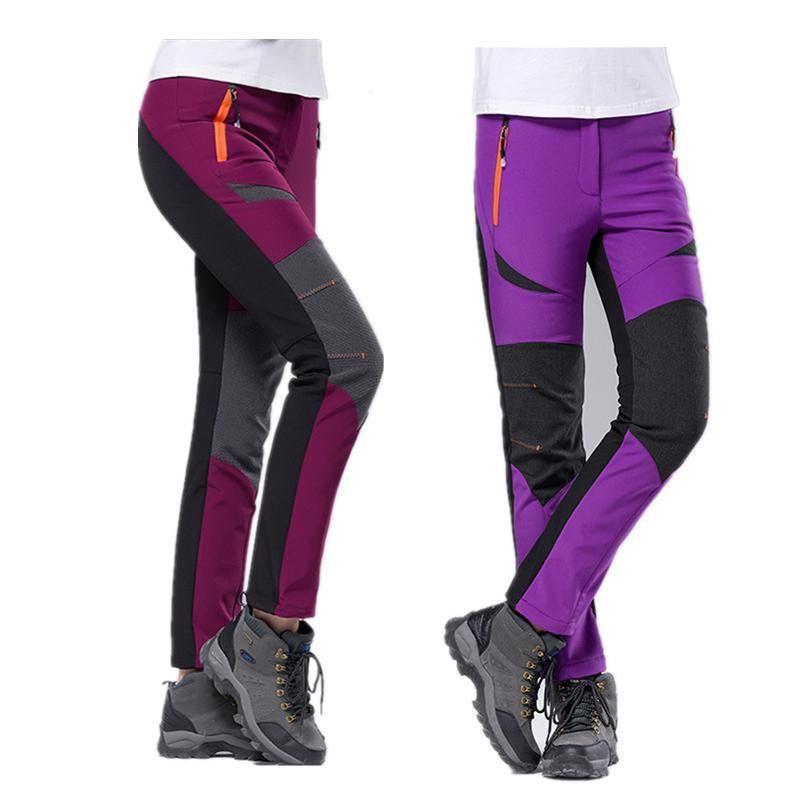 New Women Fleece Hiking Pants Outdoor Sport Camping Fishing Skiing Waterproof Windproof Trousers
