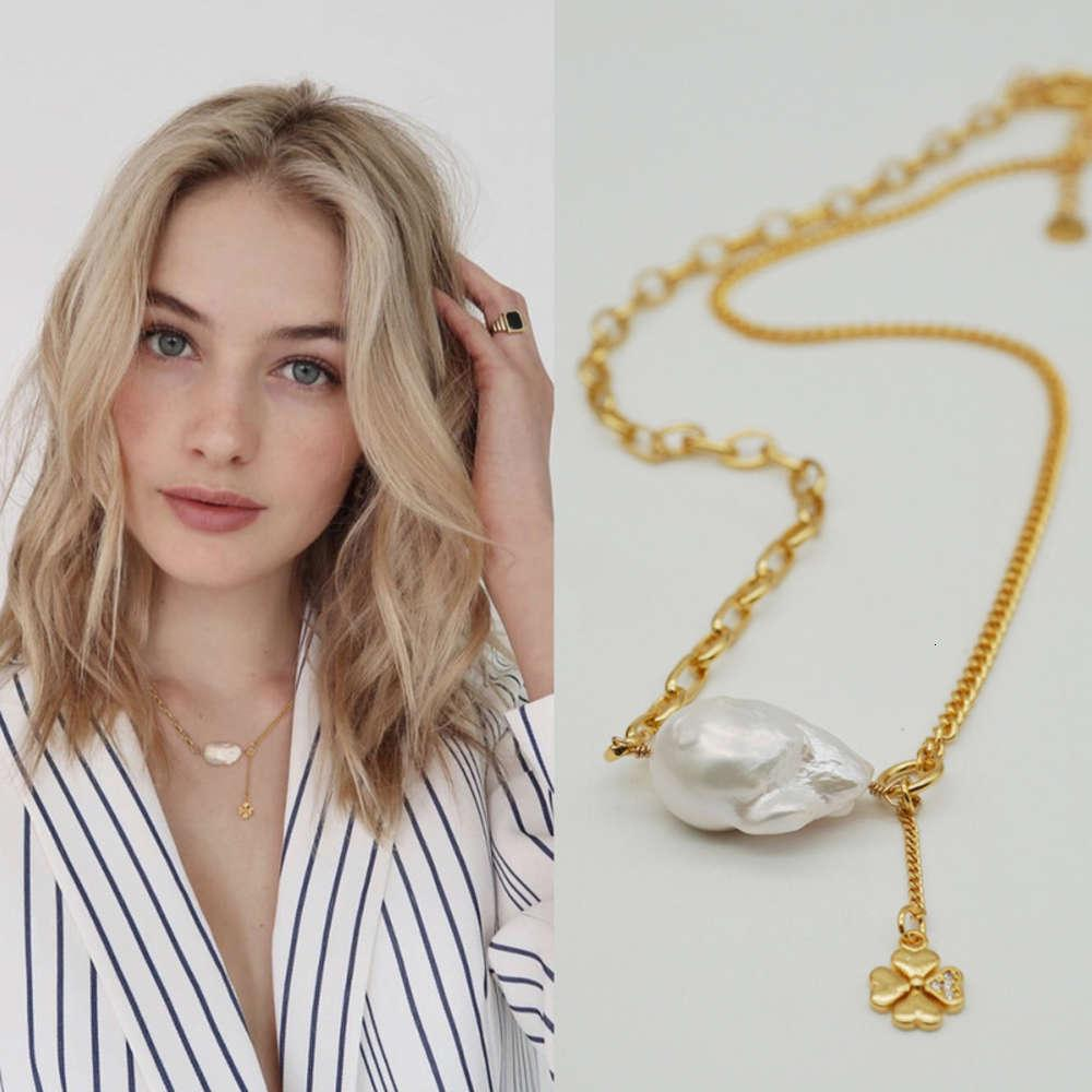 Japan and South Korea jewelry necklace personality fashion independent design simple shaped Baroque Pearl Pendant sweater chain