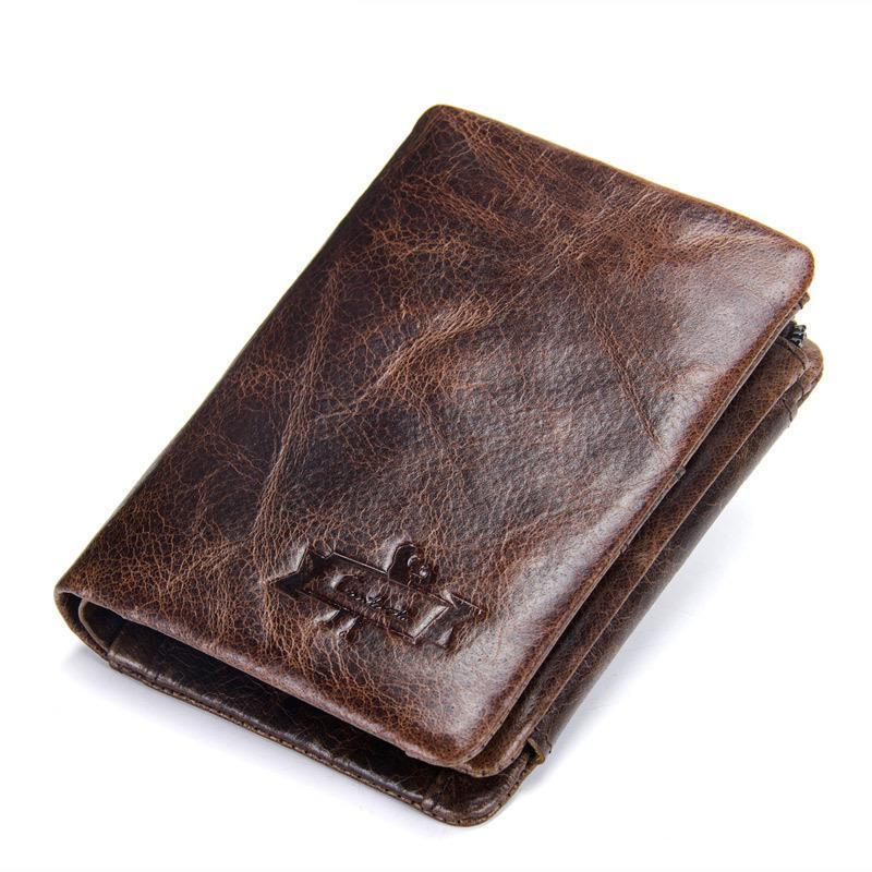 YourSeason 2021 Solid Hasp Standard Man Crazy Horse Retro Wallets Multi-card Position Men Short Purse Genuine Leather
