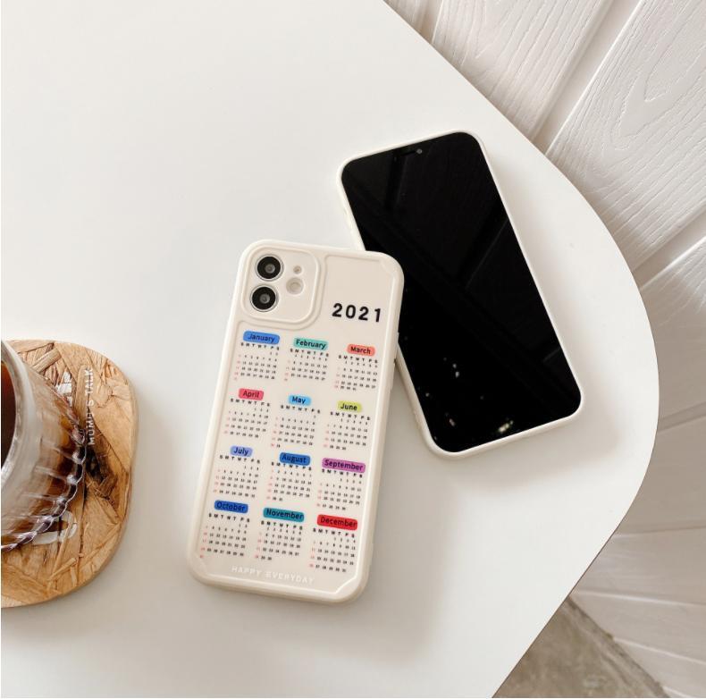 2021 New Calendar Date Case For iPhone 11 12 Pro Max XR X 7 8 Plus Soft TPU Case