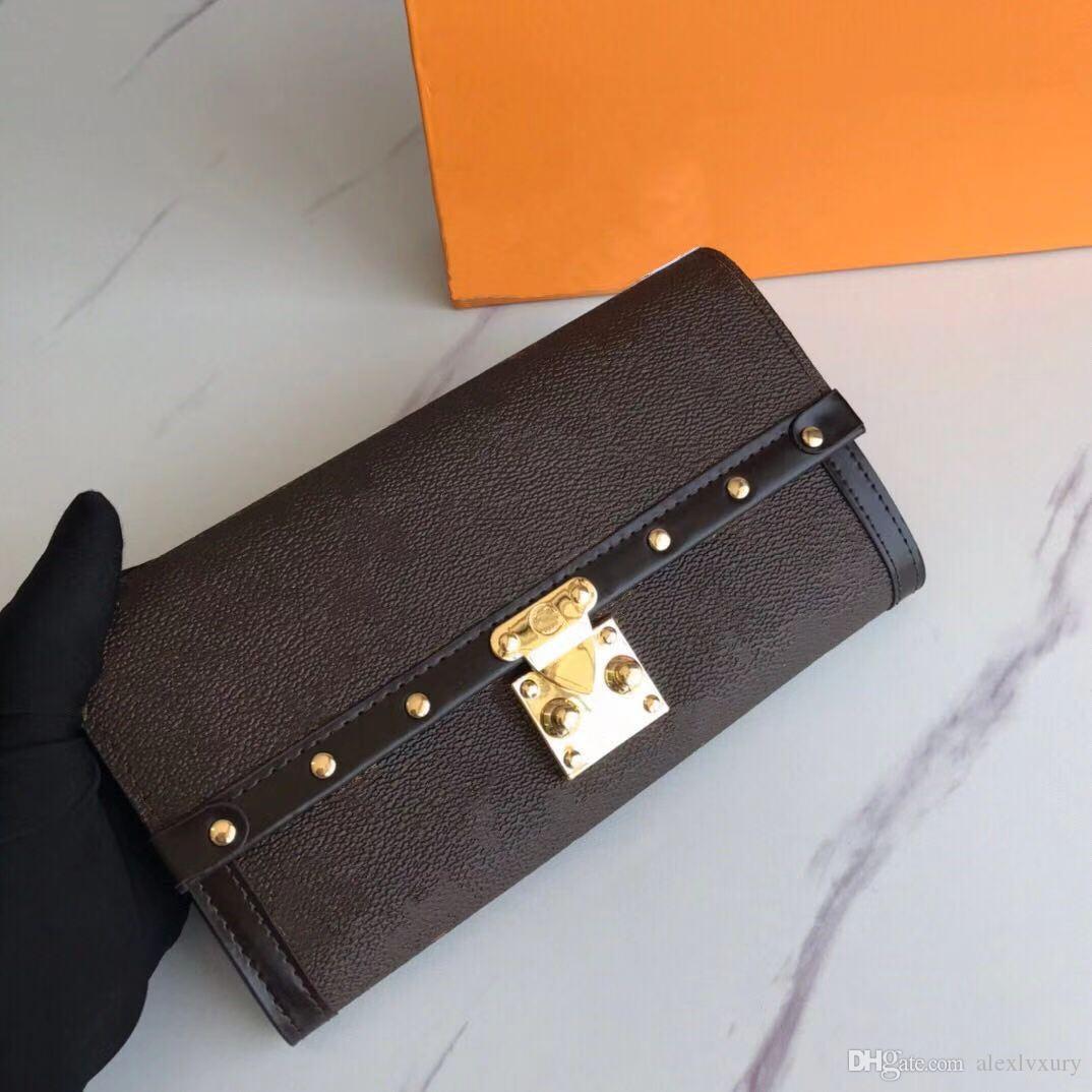 클래식 레이디 고품질 꽃 패턴 리벳 S 잠금 정품 코팅 캔버스 여성 긴 지갑 Unisex 지갑 신용 카드 선물 상자 N60535