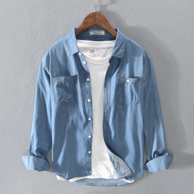 2021 Осень Новые Повседневные Мужские Джинсовые 100% Твердый Хлопок С Длинным Рукавом Высокое Качество Синие Мужские Топы Рубашка Y3399 MNB9