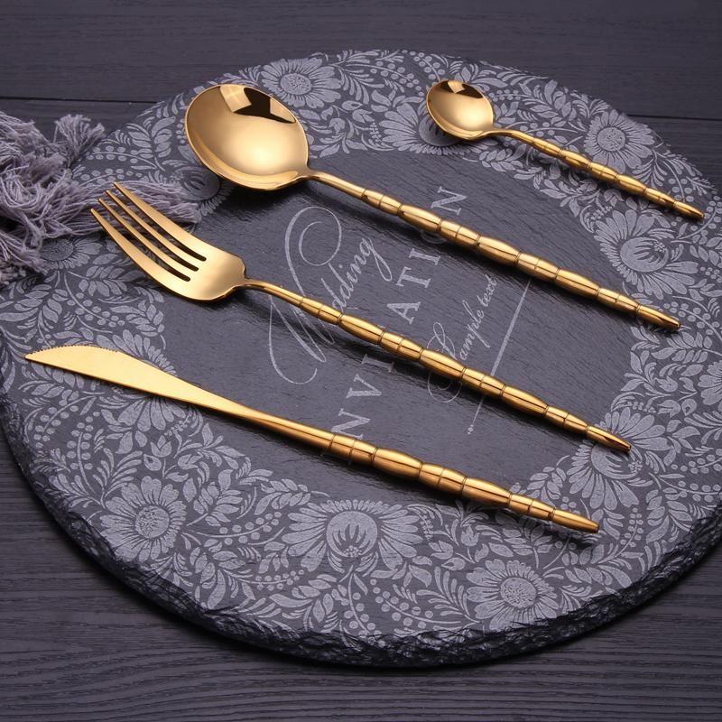 4 pcs Talheres Lindo Cores Cutelaria Definir 304 Aço Inoxidável Dinnerware Jogo de talheres Forquilhas Facas Presente de Natal