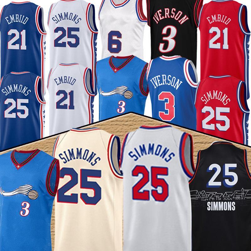 Allen 3 Iverson Joel 21 Embiid Erkek Basketbol Formaları Retro Formalar Ben 25 Simmons 2021 Yeni Basketbol Jersey Camisetas de Baloncesto