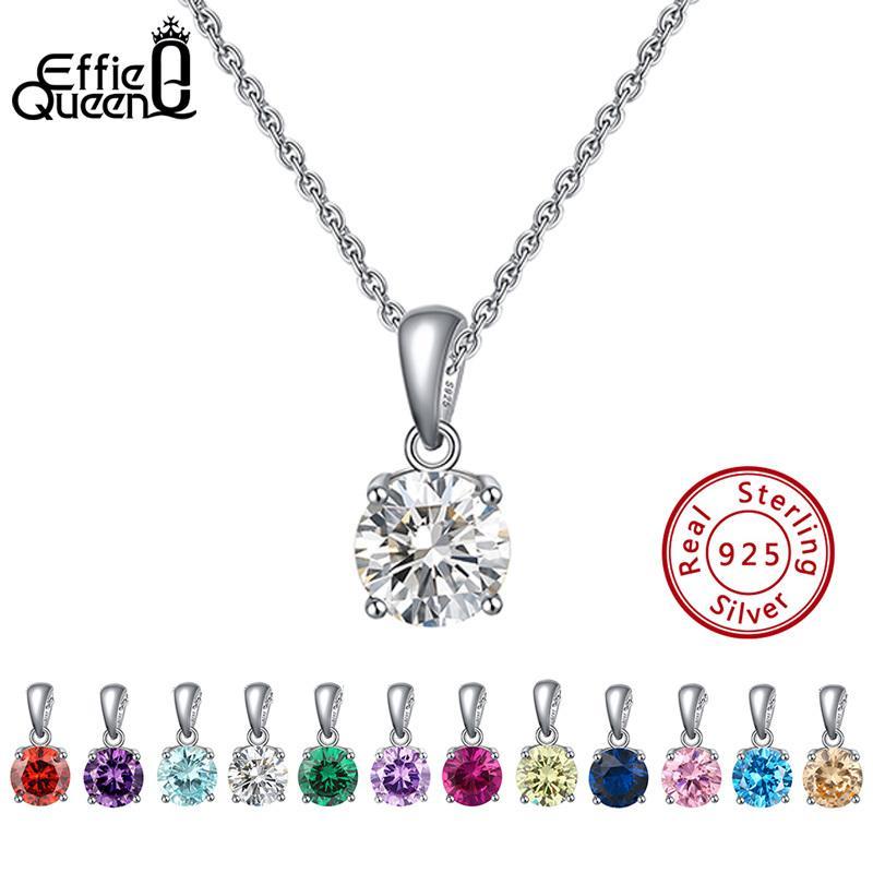 Effie Queen Real 925 Sterling Silver Colgante Colgante Lucky Birthstone Multi Color Zircons Stud Collares Mujer Joyería BN118 0213