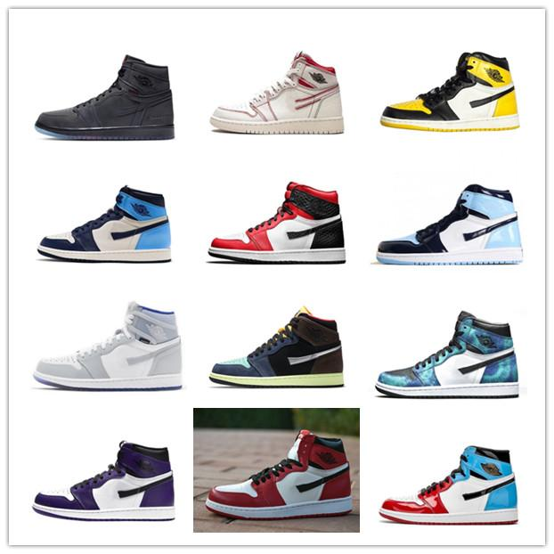새로운 2021 남자 컬러 스티치 1S 농구 신발 jumpman 1 혈통 디자이너 스 니 커 즈 두려움없는 흑요석 UNC 특허 골드 블랙 신발