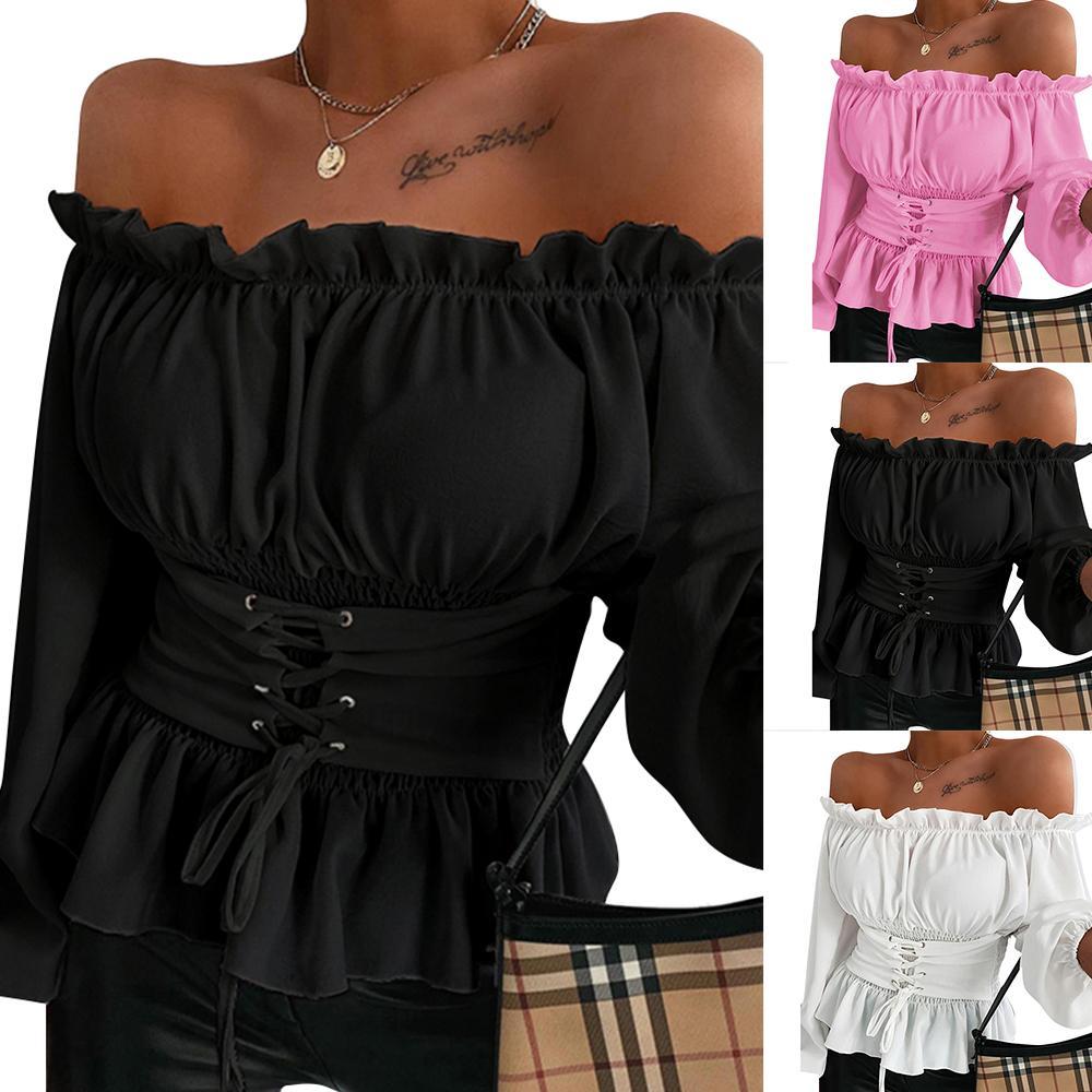 Slash collo collo camicia e camicette a maniche lunghe a maniche corte corsetto da donna top camicette autunno primavera bianco nero rosa camicia femminile D25 21302