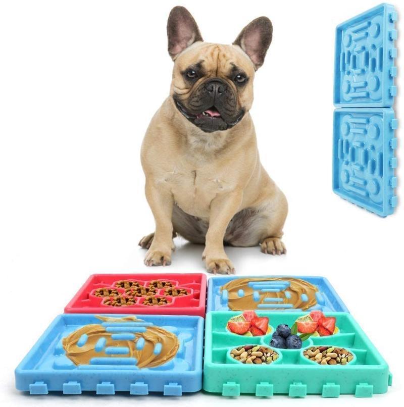 Bols de chien Alimentations Lécher des animaux de compagnie Set, tapis de restauration lente, plateau d'alimentation, soulagement de l'anxiété Fit chat Baignage Trains de toilettage