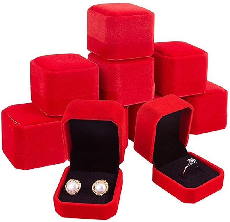 Yüzük Kutuları Küpe Kolye Takı Tutucu Saklama Kutusu Hediye Paketleme Kutusu Düğün Kare Vitrin Kılıfları Için