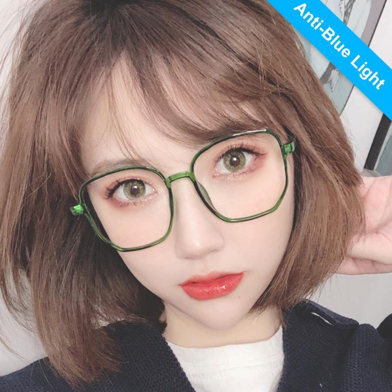 Lunettes de soleil 9157 Polygon Anti-Blu-ray-ray-rayons lunettes coréenne Fille de la mode grand cadre plat plat plain plaine multicolore PC