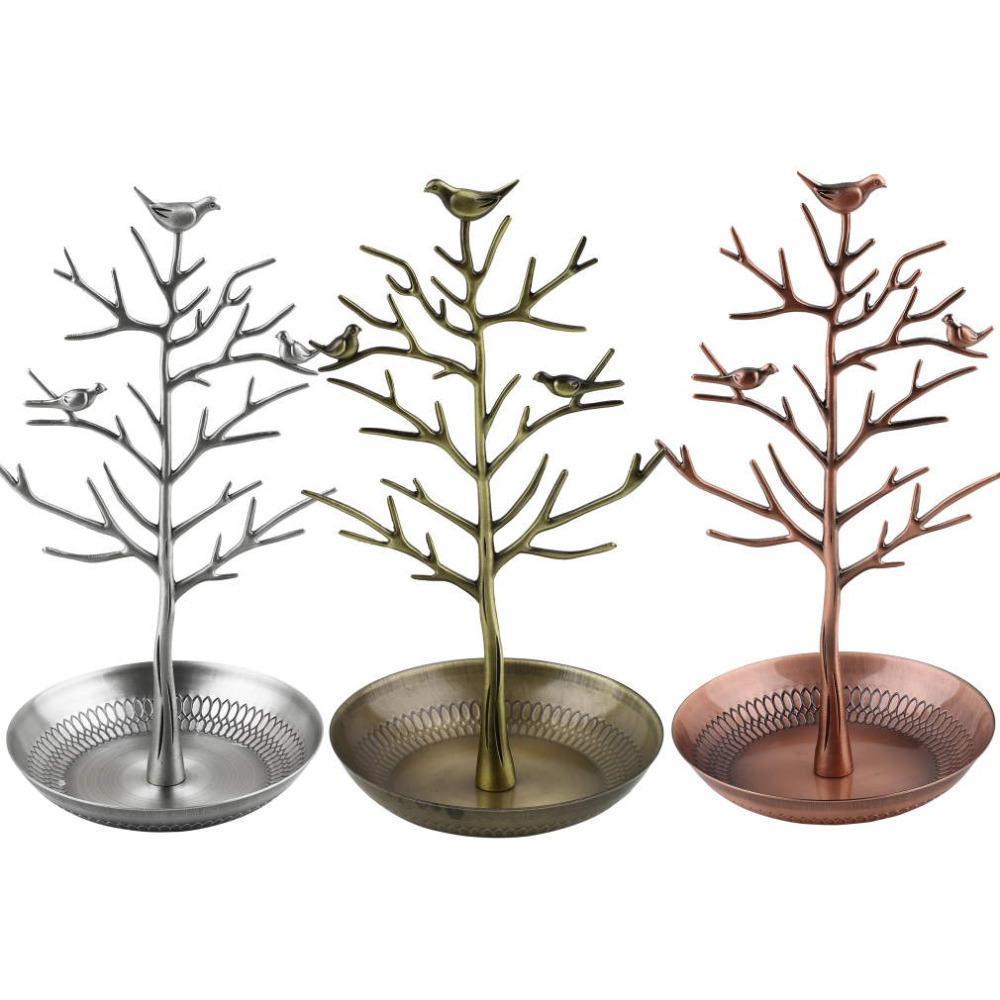 2021 جديد ريترو حلق الدائري مجوهرات خمر الطيور شجرة حامل عرض المنظم حامل عرض رف مجوهرات حامل حلقة عرض