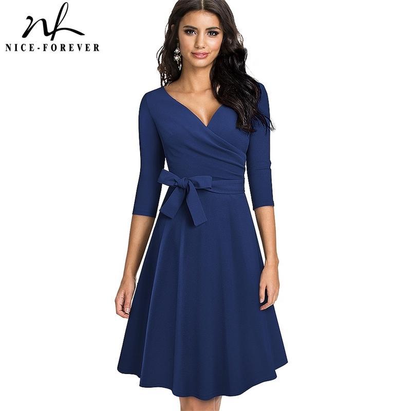 Güzel-sonsuza 2021 Yeni Bahar Sash ile Saf Renk Sash Retro Elbiseler Kokteyl Parti Flare Salıncak Kadın Elbise A240 210303