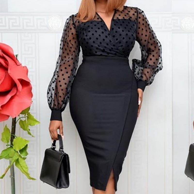 Kadınlar Sheer Uzun Kollu Polka Dot Bodycon Elbise Ofis Bayanlar Ince Bkz. Kadınlar Vestido Afrika Mütevazı Celebrate Osta 210303