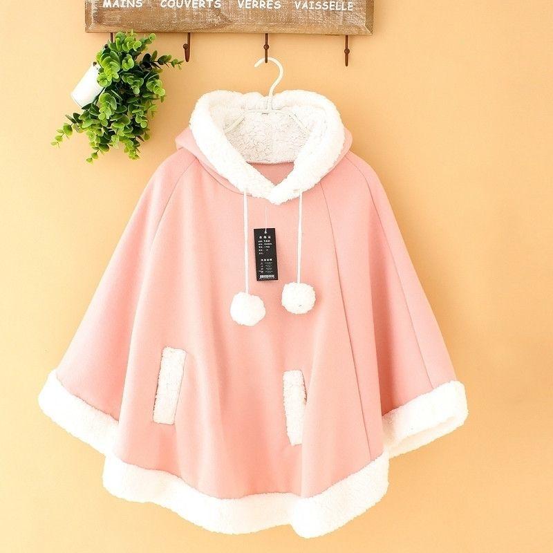 Dulce chica rosa capa linda gruesa más cachemira abrigo de cachemira japonés lolita dulce kawaii femme tibio con capucha suétamo un tamaño 10 colores 201030