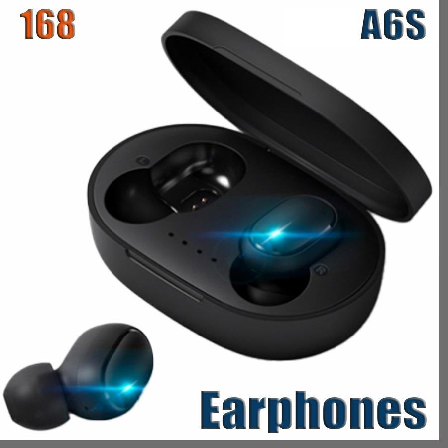 168D A6S 무선 이어폰 스포츠 이어 버드 블루투스 5.0 헤드셋 화웨이 삼성 헤드폰 용 MIC 소음 취소