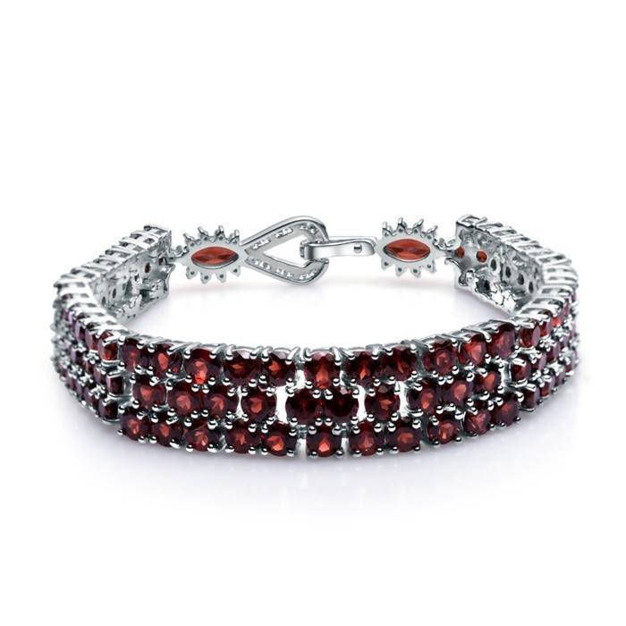 Ballet de la gema 925 Pulseras de plata esterlina Brazaletes para las mujeres joyas finas 30.80ct pulsera de piedras preciosas de granate rojo natural genuino