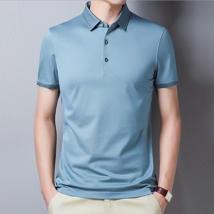 2021 yaz erkek kısa polo gömlek yarım kollu buz ipek yaka erkekler için ince t-shirt.