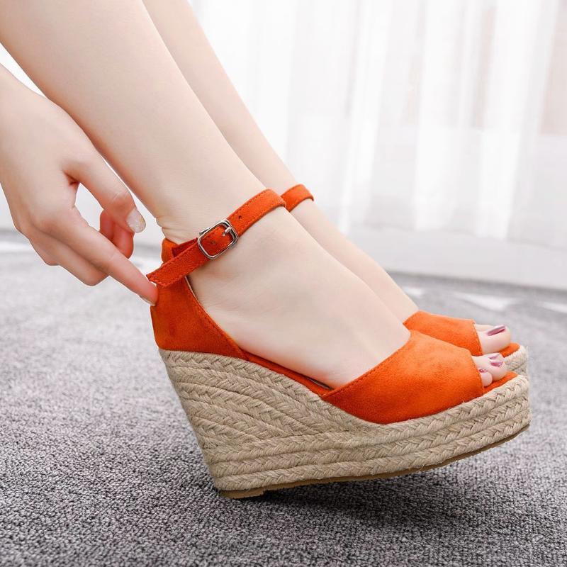 Sandali Summer Summer Ladies Plus Size Wedge High Heel Bohemian Rope Bianco Arancio per le scarpe da donna A0028