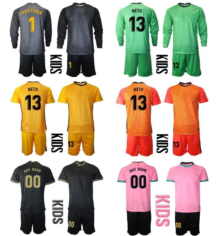 2021 Sezon Ev Uzakta Camisa De Futbol Özel Çocuk Kiti Üniforma Setleri Kaleci 1 Terler Tegen 13 Neto Futbol Boys Eğitim Soccer Jersey