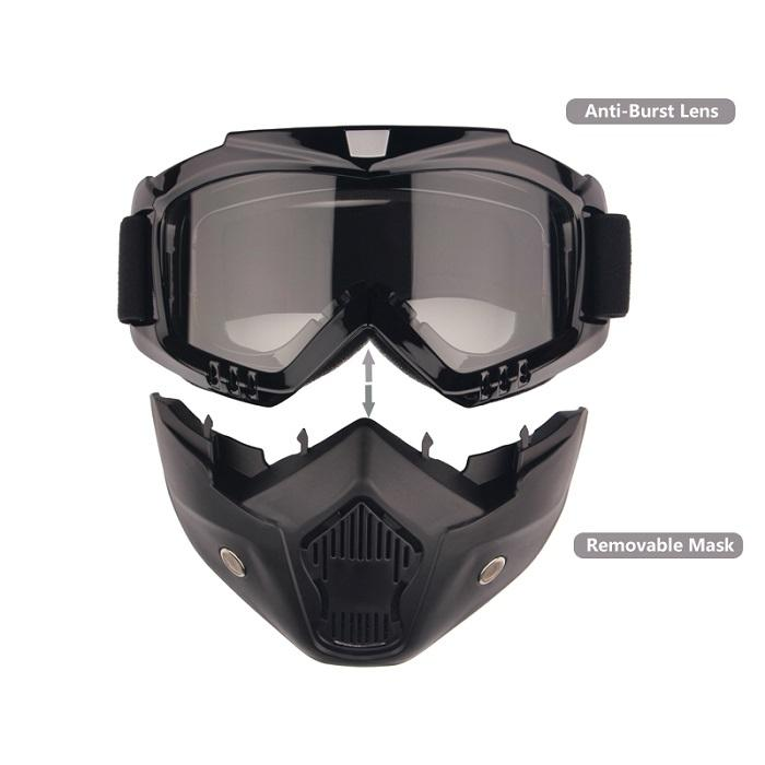Harley Style Motorcycle Goggles with Mask Removable Helmet Sunglasses Protect Padding Road Riding UV Motorbike Glasses