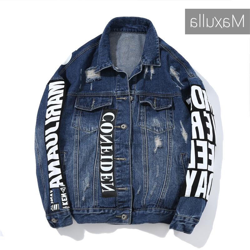Maxulla Nova Primavera Jackets Homens Imprimir Lavado Denim Casaco elegante Hip Hop Rasgado Jeans Causal Jacket Street Wear MLA008