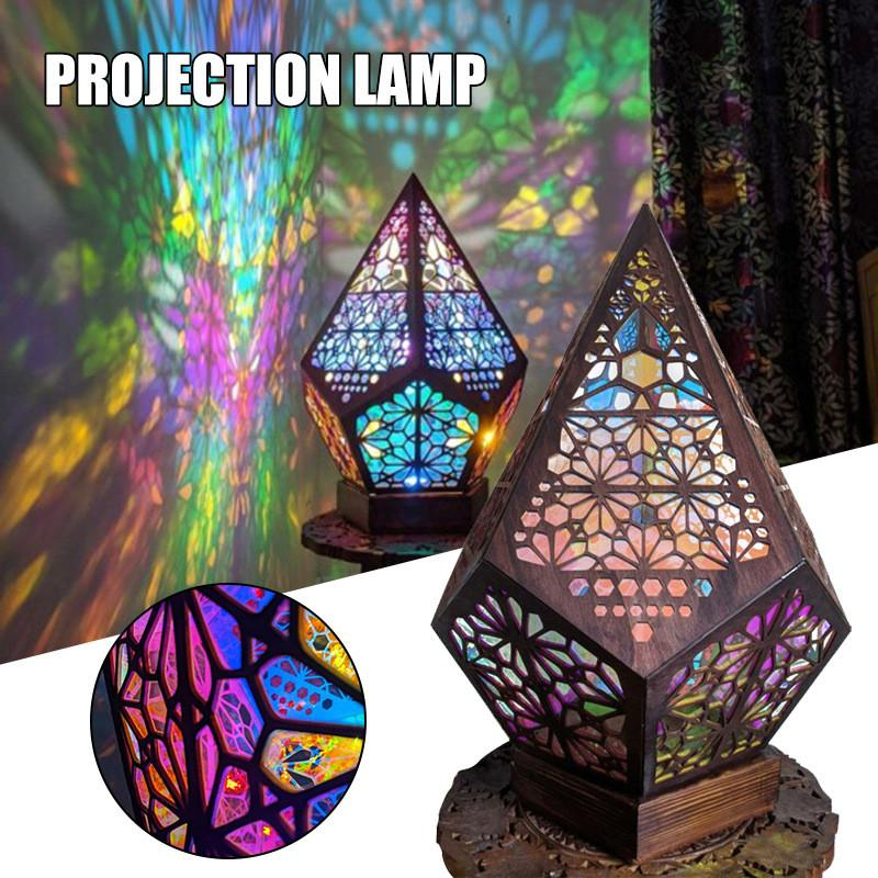 Bohemian Light Polar Star Colorful Floor Lamp Home Decor Hallway Ideal for Room Projection Fairy Wooden Geometric USB Table Lamps