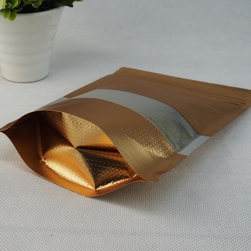 14x20cm Doypack 골드 양각 지퍼 잠금 가방 50pcs / lot 스탠드 매트 투명 플라스틱 창 102 S2와 알루미늄 호 일 지퍼 패키지 가방