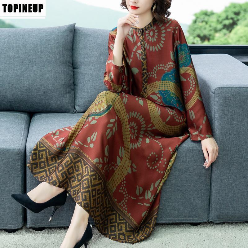 Повседневные платья женские 2021 ретро винтажные дамы весеннее цветочное платье элегантное красное печать среднего возраста женское одеяло
