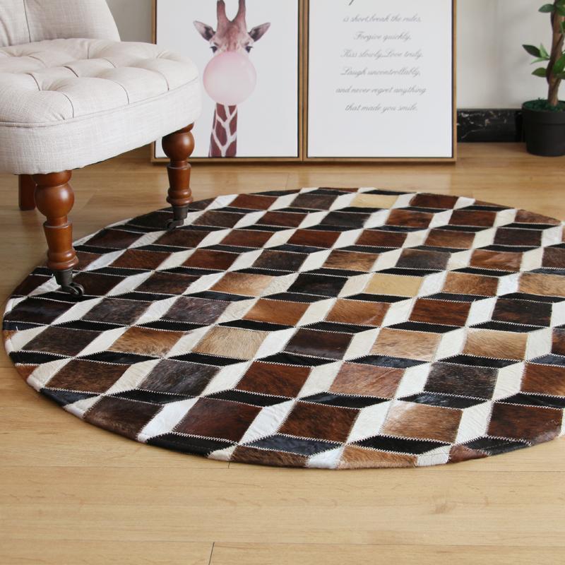 2021 새로운 고품질 패치 워크 소 가죽 깔개 서클 암소 모피 카펫 가죽 암소 숨기기 영역 라운드 cowskin 카펫