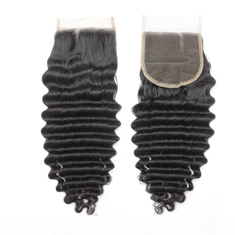 """100 Virgin Peruan Top Feches Human Hair 4x4 Remy Brazilian Remy Deep Ondulado Laço Fechamentos Cabelo 1B Parte média 130% 10 """"-20"""""""