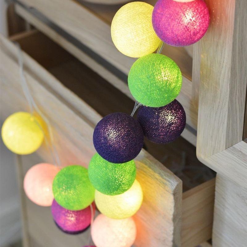 Qyjsd Nuovo cotone Ghirlanda Balls Battery USB Christmas Wedding Bambini Bed Decor Birthday Party LED String Lights Fairy Regali