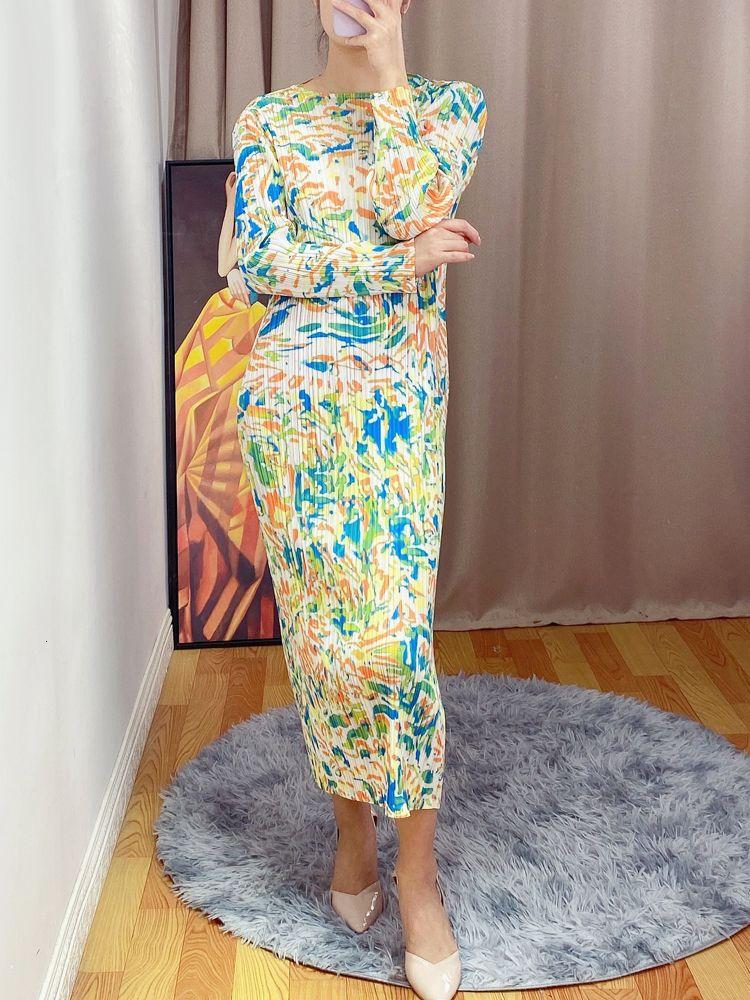 2021 Весна Летние Новые Девушкипечатаны Майяк Складки Длинные Мода Плюс Тонкие Длина Длина Длина Платье Flexibilit KDXX
