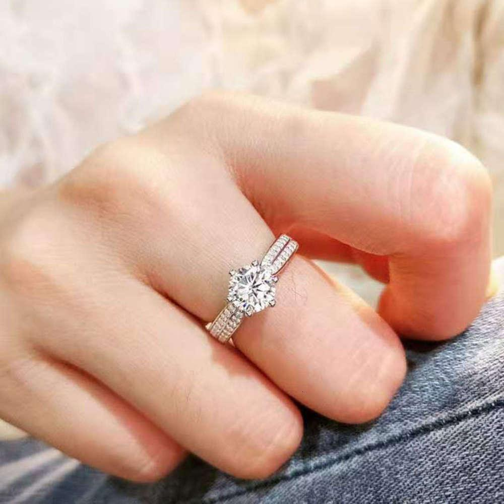 HBP Star queen diamond ring classic six claw silver S925 one carat high carbon simulation Diamond Girl live broadcast