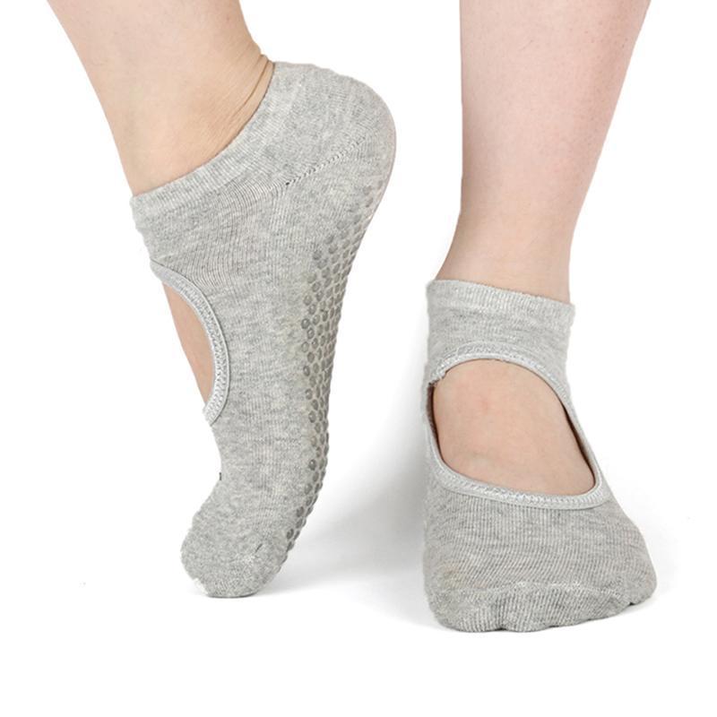 Sports Socks Silicone Non-Slip Yoga For Woman Pilates Barre Dance Slippers Ballet Breathable Ladies Sport Foot Scoken Backless Sock