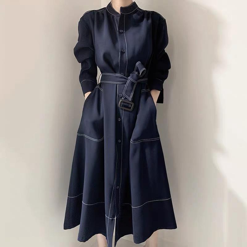 2021 Neues langärmliges Hemdkleid Einfache Stehkragen Taille Einreiher Trenchcoat Kleid Freies Verschiffen