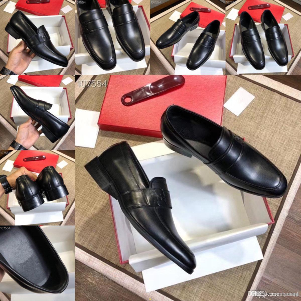 MM Marques de luxe Top Cuir Mode Hommes Business Robe Mocassins pointus Toe Chaussures Noir Oxford Respirant Formel Chaussures de mariage 33
