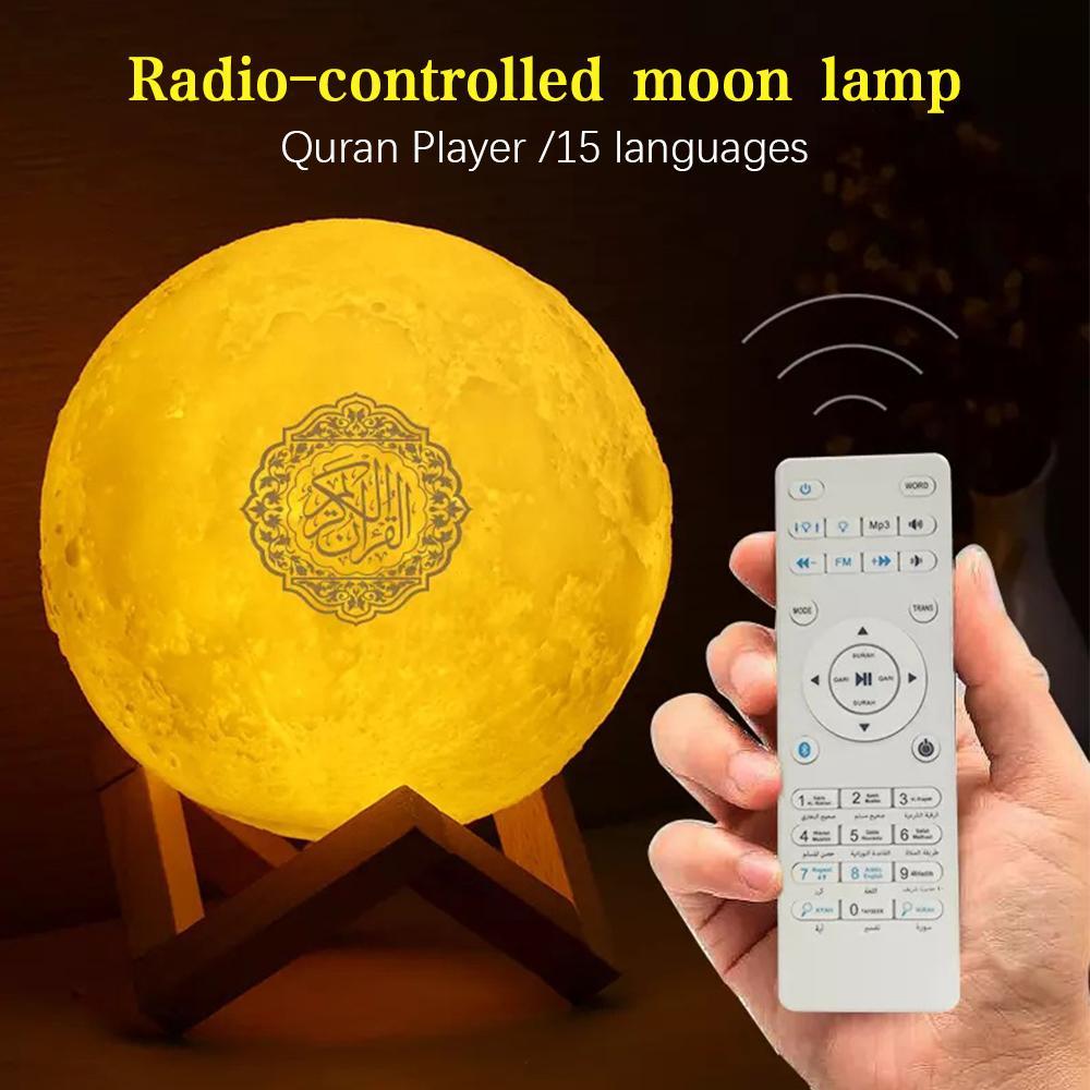 LED-Lichtmondlampe Wireless Bluetooth Quran-Lautsprecher Bunte Mondlicht für Schlafzimmerdekoration Quran Mond Nachtlicht Geschenk C0305