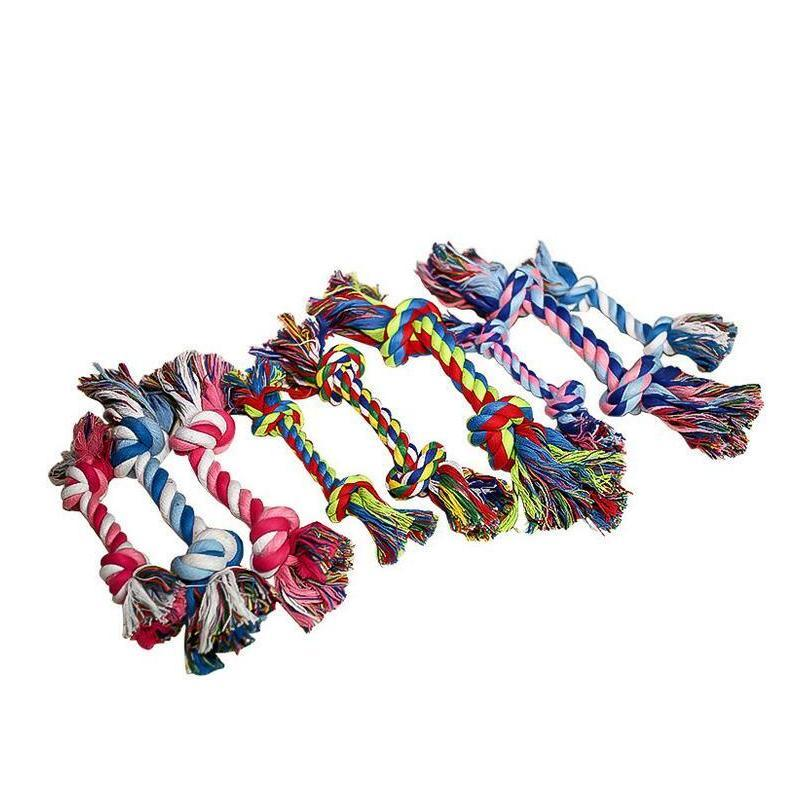 Pets Dog Cotton Chews Knot Toys Colorful Durable Braided Bone Rope 18cm Funny Dog Ca jllbgD insyard
